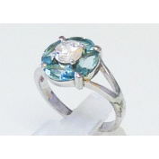 Blue topaz with white cubic zirconia silver ring