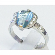 Blue topaz cubic zirconia mercasite silver ring