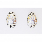 Bali style cutout curved silver stud earrings