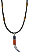 Bico Raw Horn Pendant & Black Leather Necklace (RA1P1C) - natural strength