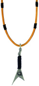 Bico Raw Rockstar Pendant & Brown Leather Necklace (RA2P4B) - flame hot and bright