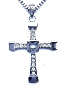 100% Stainless Steel Chain with Character () The Fast and the Furious Vin Diesel Dominic Toretto's Cross Pendant