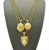 Narrow Lion Medal, 3D Lion Head & Stone Stud Crown King Lion Pendant Ball Chain Necklace Set in Gold-Tone