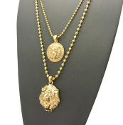 Solid Narrow Lion Head Medal & 3D Lion Head Pendant Set 2 mm 61 & 76 cm Ball Chain Necklace in Gold-Tone