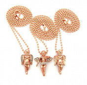 Angel Cherub 3 Piece Micro Pendant Set with 61cm Ball Chain Necklaces in Rose Gold-Tone