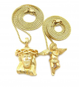 Polished Micro Jesus Head & Solitaire Angel Pendant Set 2mm 61cm & 76cm Box Chain Necklaces in Gold-Tone