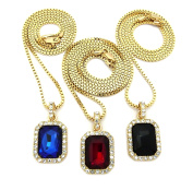 Faux Ruby/Onyx/Sapphire Stone Triple Pendant Set w/ 2mm Box Chain Necklaces in Gold-Tone