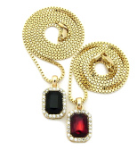 Pave Faux Onyx & Faux Ruby Stone Pendant Set 2mm 61cm & 76cm Box Chain Necklace in Gold-Tone
