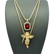 Faux Ruby Stone & Pave Floating Angel Pendant Set 2mm 61cm & 76cm Box Chain Necklace in Gold-Tone