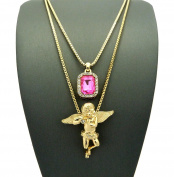 Pave Pink Stone & Solitaire Angel Pendant Set 2mm 61cm & 76cm Box Chain Necklace in Gold-Tone