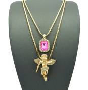 Pave Pink Stone & Pave Floating Angel Pendant Set 2mm 61cm & 76cm Box Chain Necklace in Gold-Tone