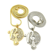 Iced Out Two-Tone Micro Rocafella Pendant Set 61cm 76cm Box Chain Necklaces