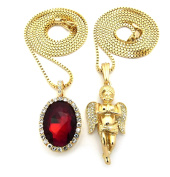 Pave Oval Red Stone & Pave Pray Angel Pendant 2mm 76cm Box Chain Necklace Set - Gold-Tone