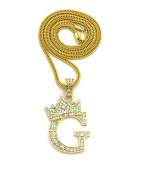Stone Stud Allover Tilted Crown Inital G Pendant w/ 3 mm 61 cm Fox Chain Necklace, Gold-Tone