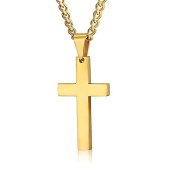 FOSIR Stainless Steel Cross Pendant Chain Necklace for Men Women, 60cm - 60cm Polished Curb Chain