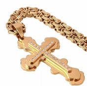 Mens Stainless Steel Cross Necklace Chain 18K Gold Filled Jesus Pendant 60cm