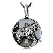 XYLUCKY 925 Silver Vintage Tiger Pendant with 51cm Silver Chain for Men