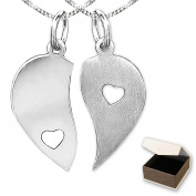 Clever Jewellery Set Silver Pendant Heart Pendant 15 x 15 mm Internal Left Matte, Right Glossy with One Open Heart and 2 Curb Chains Each 45 and 50 cm Long 925 Sterling Silver in Case