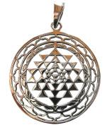 Sterling Silver 925 Sri Yantra Chakra Pendant