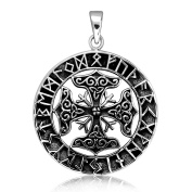 Sistrakno Sterling Silver 925 Viking Amulet The Helm Of Awe Mjölnir Hammer of Thor Norse God with Ancient Language in Round Shape Pendant