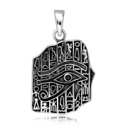 Sistrakno Sterling Silver 925 Eye of Horus Wedjat Ancient Egyptian Deities Symbol of Protection Royal Power and Good Health with Ancient Egyptian Language Pendant