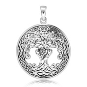 Sistrakno Sterling Silver 925 Celtic Knot Tree Of Life Green Earth Pendant