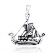 Sistrakno Sterling Silver 925 Pirate Nautical Viking Boat Ship Sea World Warship Dragon Head Pendant