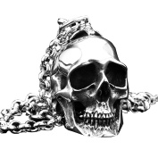PAMTIER Mens Gothic Biker Large Heavy Skull Stainless Steel Pendant Necklace Silver Black
