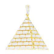 Premium Bling - 925 Sterling Silver 3D Pyramid Pendant gold