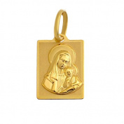 Virgin Mary with Baby Jesus Gold Madonna Pendant