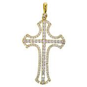 Gold Pendant Cross Cubic Zirconia Chain Pendant 14 Carat 585 Gold Jewellery 2848