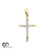Gold Cross Pendant 585 Yellow Gold and Cubic Zirconia Pendant 14Karat 3158
