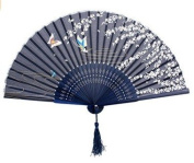 Demarkt Foldable Paper Fan Hand Hold Folding Fan Dark Blue Colour Base With Butterfly and Cherry Blossoms Pattern Gift