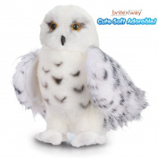 Premium Quality Snowy White Plush Owl Toy By BriteNway – 30cm High Adorable Stuffed Animal – Extremely Soft, Cuddly & Fluffy – With Excellent Detail – Perfect Gift Idea For Bird Lovers & Children
