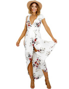 Refosian Women Floral Tie Waist Split Wrap Flowy Party Long Beach Maxi Dress
