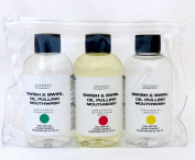 3 x 100ml Bottles of Coconut Oil Pulling Mouthwash Supplied in Clear Cosmetic Storage Bag *Coconut Oil Infused with Essential Oils * Variety Pack *1 Months Supply
