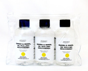 3 x 100ml Bottles of Lemon Coconut Oil Pulling Mouthwash Supplied in Clear Cosmetic Storage Bag *Coconut Oil Infused with Lemon Essential Oil * 1 Months Supply