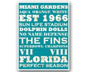 Miami Dolphins Poster Subway Style Art Football NFL Print 30cm x 41cm