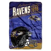 "Northwest Baltimore Ravens NFL ""Stagger"" 160cm x 230cm Oversized Micro Raschel Throw Blanket"
