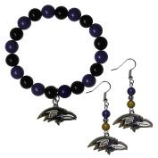 NFL Baltimore Ravens Fan Bead Earrings & Bracelet Set