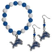 NFL Detroit Lions Fan Bead Earrings & Bracelet Set
