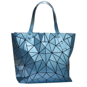 LA HAUTE Women Fashion PU Tote Bags Rhombus Pattern Shoulder Bags Top Handle Bags,Blue