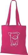 ShirtInStyle Cloth bag Cotton bag Funny Animals Pig - Shocking Pink, 38 cm x 42 cm
