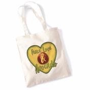 Avocado Tote Bags for Women Vegan Gifts Cotton Shopping Bag Ladies Shoulder Bag Printed Beach Bag Peace Love & Avocado Tote Bag