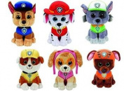 Authentic TY Paw Patrol Set of 6 - Beanie Boos - Plus Free Pack of Paw Patrol Crayons