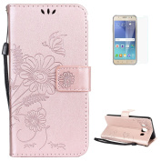 Samsung Galaxy J510 Case Soft Pu Leather case [with Free Screen Protector] KaseHom Embossed Flowers Leaves Butterfly Ant Series Design Flip Wallet Cover with [Magnetic Closure] [ID Card Holder Slot] [Stand Function] Unique Retro Premium Leather Shell B ..