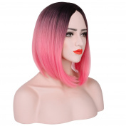 Bob Short Straight Pink Ombre Heat Resistant Lolita Cosplay Hair Wig Synthetic