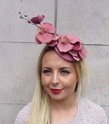 Starcrossed Boutique Dusky Pink Gold Orchid Flower Hat Fascinator Hair Clip Races Wedding Vtg 3201