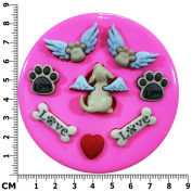 Doggy Heaven Angel Puppies and Paws Silicone Mould Mould for Cake Decorating Cake Cupcake Toppers Icing Sugarcraft Tool by Fairie Blessings