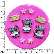Three Little Girl Mice and Cheese Silicone Mould Mould for Cake Decorating Cake Cupcake Toppers Icing Sugarcraft Tool by Fairie Blessings